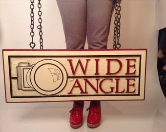 SALE Vintage Salvaged Wide Angle Camera Sign