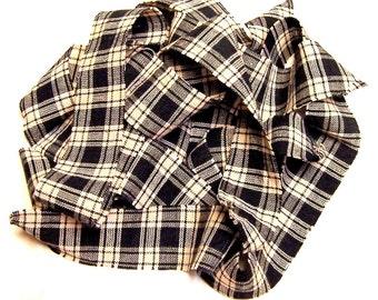 Homespun Cotton Fabric Ribbons Black Cream Plaid