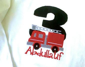 Fire Truck Birthday  Shirt or Onesie with HUGE Number and Name any color fabrics