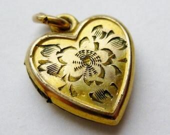 Vintage 40s Gold Vermeil Sterling Silver Sweetheart Heart Shaped Locket Necklace Pendant