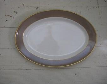 vintage mayer brown rimmed platter gold rimmed mcm rustic country restaurantware