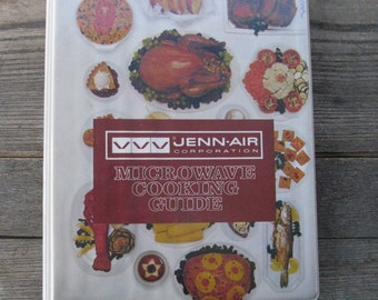 vintage jenn air microwave cooking guide binder style line drawings color photos