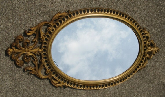 Vintage ornate gold mirror burwood products hard plastic old for Plastic baroque mirror