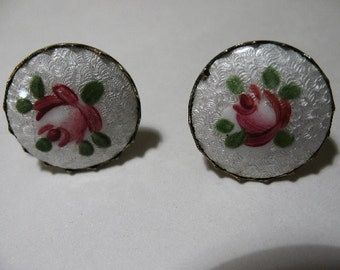 Vintage CORO Screwback Earrings with Hand-Painted Roses