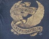Vintage Harley Davidson Motorcycle 3D Emblem Biker Soft 50/50 T shirt XL