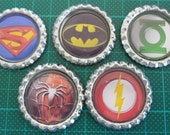 5 x Super Hero Symbols Inspired Flattened Bottle Caps - Great for Jewellery, Bows, Cards, Magnets