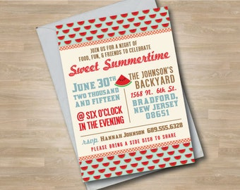 Watermelon Outdoor Party Invitation, Sweet Summertime Invite, Summer Cook Out, Neighborhood Grilling Party, Fourth of July Party