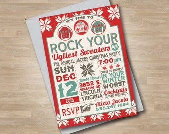Christmas Ugly Sweater Party Invitation, Holiday Sweater Party, Winter Sweater, Ugly Sweater Party, Christmas Party Invitation