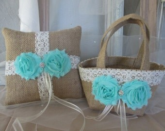 Rustic Flower girl basket and ring bearer pillow set. Burlap wedding. Your choice of  flower and lace color. Shabby chic wedding accessory.