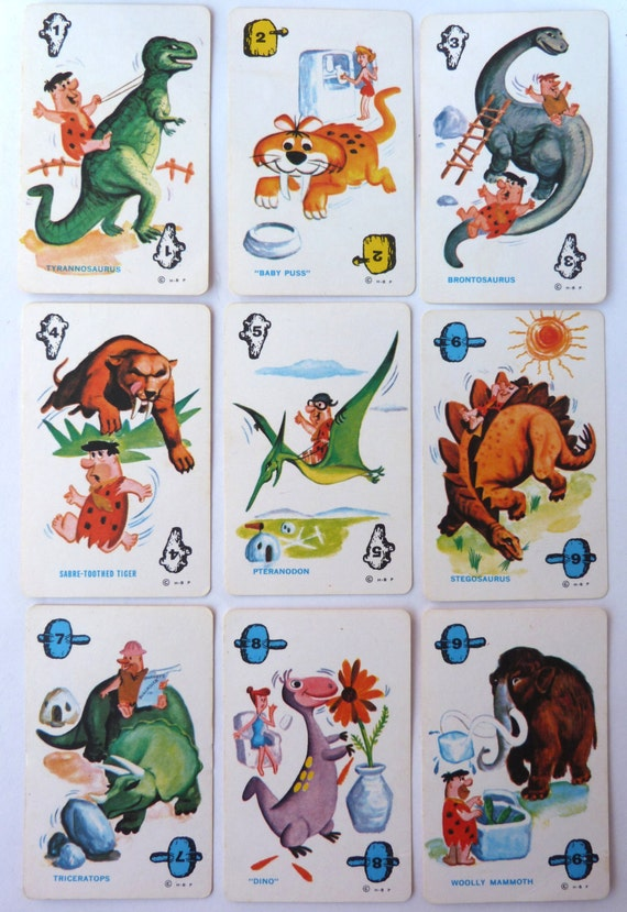 Cartoon Characters 1960s 1970s : Items similar to the flintstones vintage playing cards