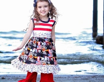 Girls Knit Top Dress with Sash Support the Troops Military Toddler Infant