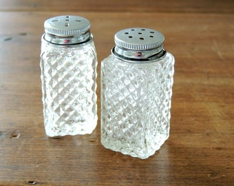 PETITE Set of Vintage Cut Glass Salt and Pepper Shakers