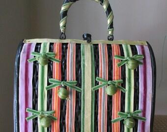 Vntage Black Straw Handbag with Multi-colored Ribbon Trim, 1980s