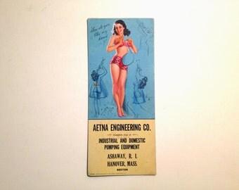 Vintage 1950's Pin Up Girl Advertising Plotter Card for Aetna Engineering Co. Hanover Boston Massachusetts