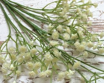 Artificial Flowers - CREAM Plastic Baby's Breath - Gypsophila - Artificial Flowers, Greenery, Filler