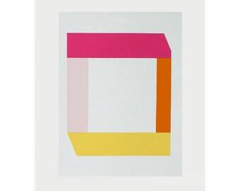 geometric print, silkscreen print, handmade, bright block colours. Pink, orange, yellow. Modern wall decor by Emma Lawrenson