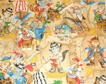 Kitty Fabric Novelty Fabric Cat Fabric Pirate Kitty Material Cotton Fabric Sewing Fabric Quilting Fabric Craft Supply