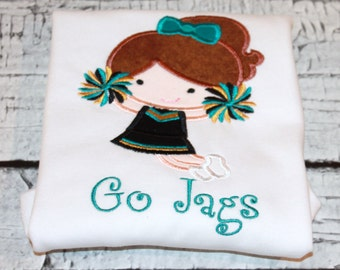Girl's Cheerleader Shirt, Cheer Shirt, Personalize Cheerleader to look like your cheerleader, Choose your team Colors