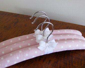 Padded Baby Hangers, Pink Polka Dot Hangers, Padded Baby Hangers, Baby Shower Gift, Organic Ribbon, Birthday Gift, Polka Dot Hanger Set of 3