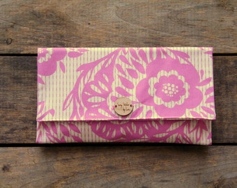 pink floral clutch purse, spring and summer fashion, bridesmaid, designer fabric, gift for her