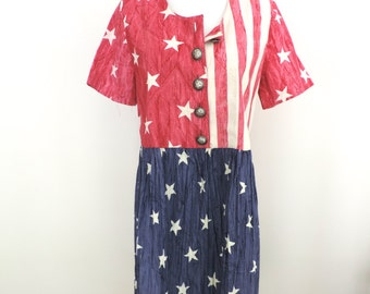Vintage Lee West Women's American Flag Dress Size Small