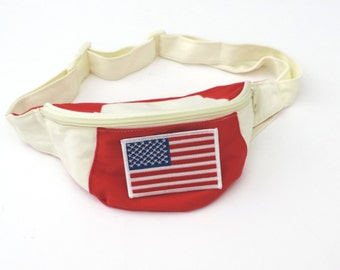 New American Flag Embroidered Retro Fanny Pack // Adjustable // One Size