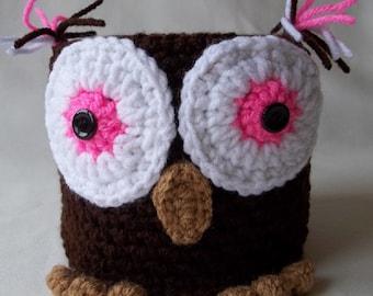 Adorable Owl Toilet Paper Cozy, Bathroom Decoration, Owl Toilet Paper Cover, Crocheted Owl, Bathroom Accessory, Brown Owl Toilet Paper Cover