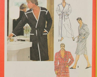 Size Mens 42 Large Front Wrap Robe in 2 Lengths Tie Belt  Vintage 1970s Uncut Sew Sewing Pattern