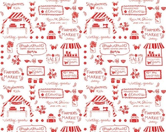 Vintage Market Text Fabric in Red 1 Yard