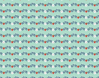 Vintage Market Vine Fabric in Mint Half Yard