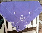 Vintage lilac cotton square tablecloth with white stitching