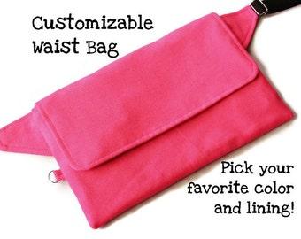 Pink Waist Bag,Custom Hip Bag,Flat Fannypack,Waist Bag Woman,Hip Sack,Utility Pocket Belt,Festival Bum Bag,Belt Pouch,Vendor Bag,Sac Banane