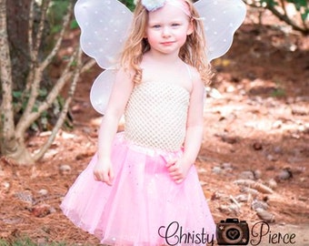 Pink Star Butterfly Wings Tutu Set