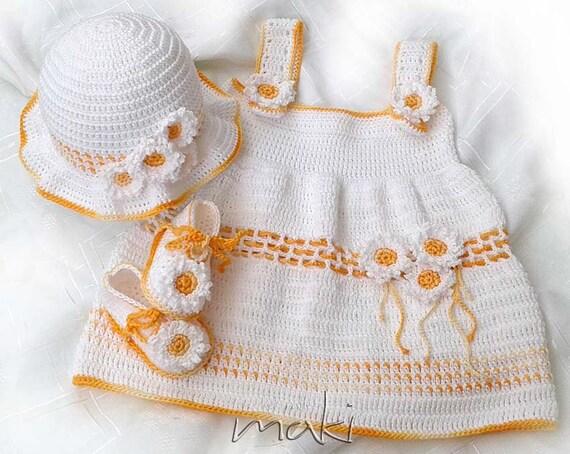 Daisy Crochet Baby Hat Pattern : Crochet pattern Daisy crochet baby set dress hat by ...
