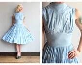 1950s Dress // Crystal Blue Dress // vintage 50s dress