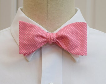 Men's Bow Tie in pink with white pin dots (self-tie)