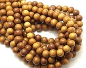 "Madre de Cacao Wood, 8mm, Light to Medium Brown, Round, Smooth, Small, Natural Wood Beads, Full 16"" Strand, 50pcs - ID 1648-LT"