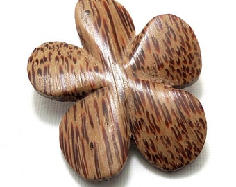 Palmwood Flower Bead, Hand Carved, Focal Bead, Pendant, Natural Wood Beads, 45mm - 50mm, Large, Big, 2pcs - ID 2031-SET2