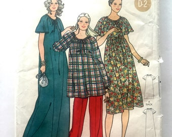 80s Butterick 6192 Maternity Dress, Loose Fitting, Flared Maxi or Below Knee, Tunic and Pants Size 12 Bust 34