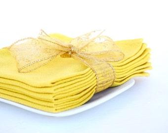 Yellow dinner napkins set of 6 vintage cloth napkins table linens formal dinner Thanksgiving Christmas housewarming retro kitchen dining