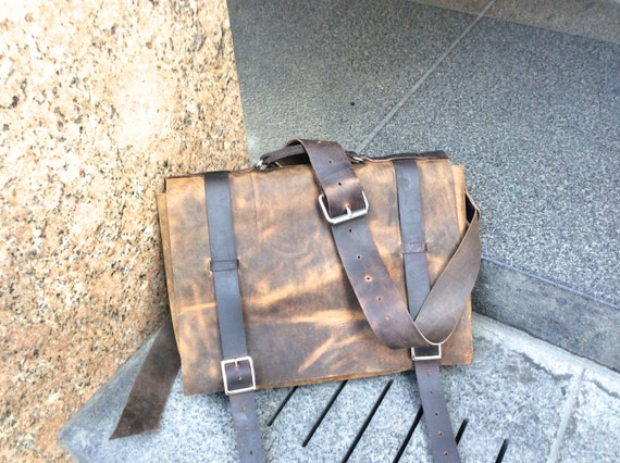 Houston Leather Briefcase / Handmade Leather Briefcase Made in America, NYC / Handsewn Leather Bags Made by Hand / Leather Briefcase for Men