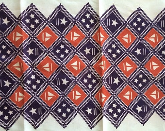 Red and Purple Scarf with Sailboat and Stars