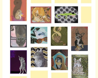 ACEO Animal Art Prints- 3 Teeny Tiny Prints, You Choose!