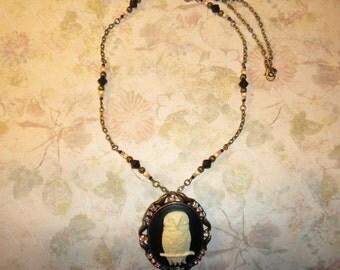 Pretty Owl Cameo Necklace