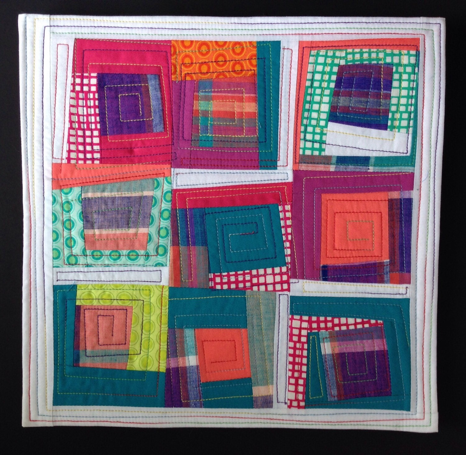 Modern log cabin quilt square by stitchesnquilts on etsy for Square log cabin