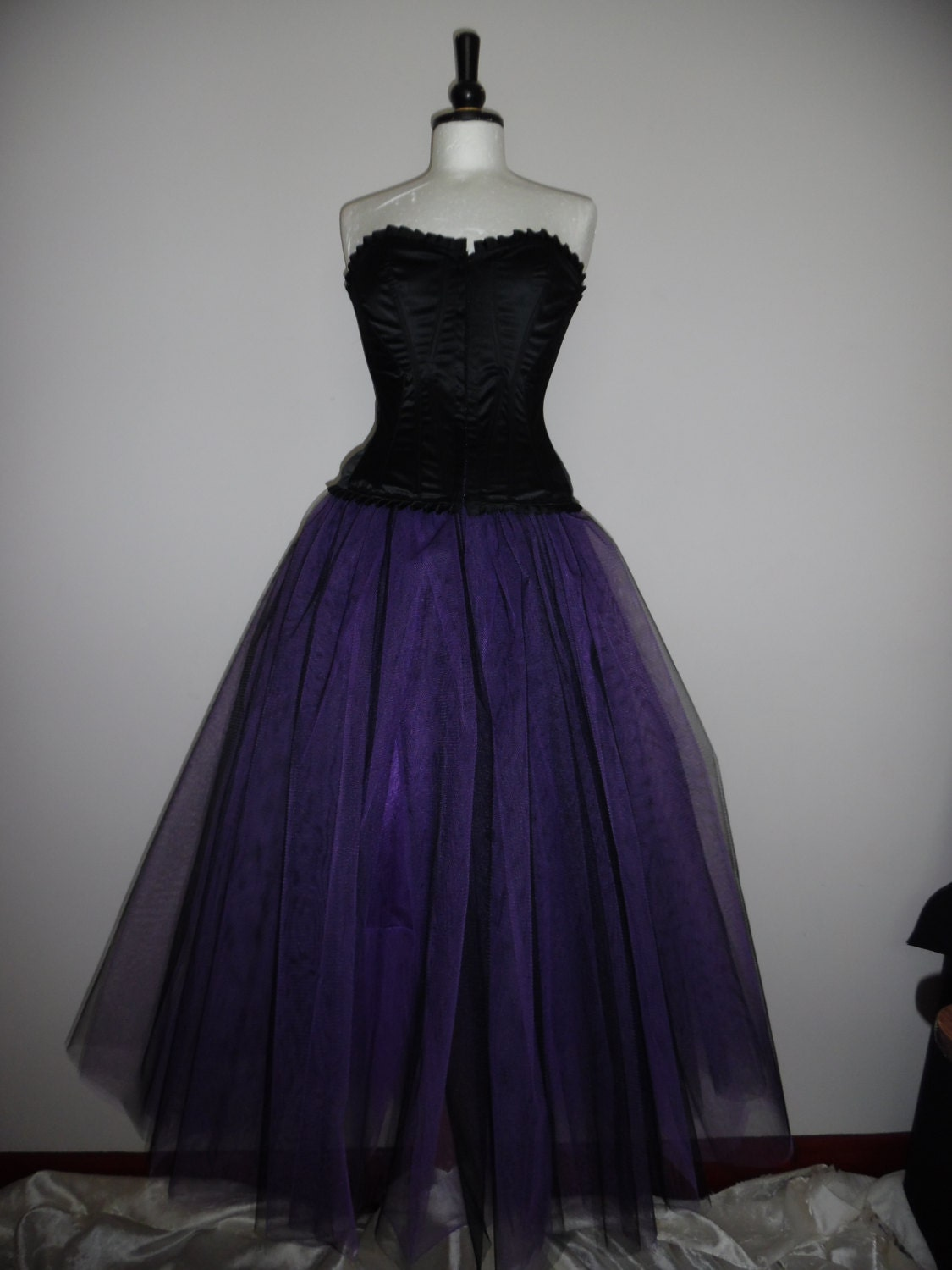 black purple tutu skirt goth tulle lined maxi FLARE FREE