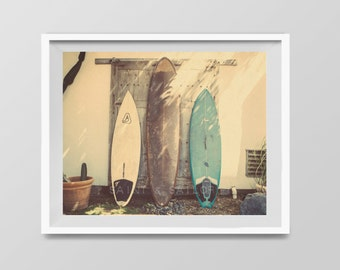 Vintage Surfboards, Surf Decor,  beach photos, , yellow, turquoise, sunset, retro, vintage surf home decor, boys room
