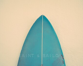 Turquoise Surfboard Tip, Surf Decor,  beach photos, , yellow, turquoise, sunset, retro, vintage surf home decor, boys room