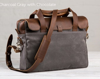 The Medium Briefcase by Pad and Quill -  Charcoal Gray with Chocolate