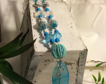 Chain and Beaded Turquoise Colored Necklace